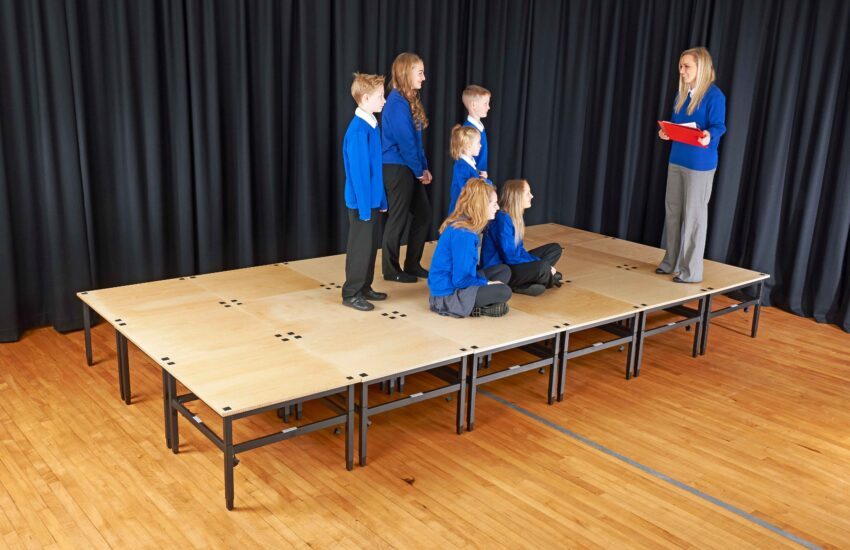 Debut stage being used in a school environment